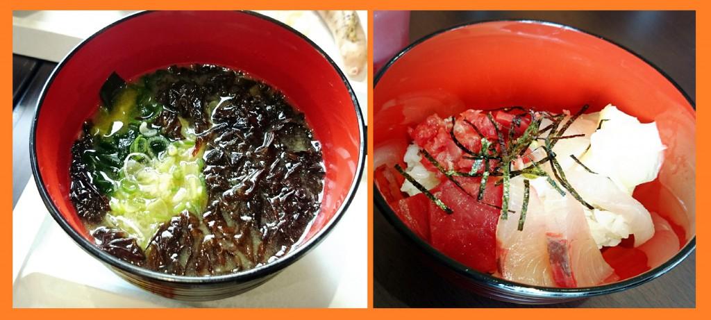番屋汁(左)と海鮮丼(右)!どちらもおいしかったです。