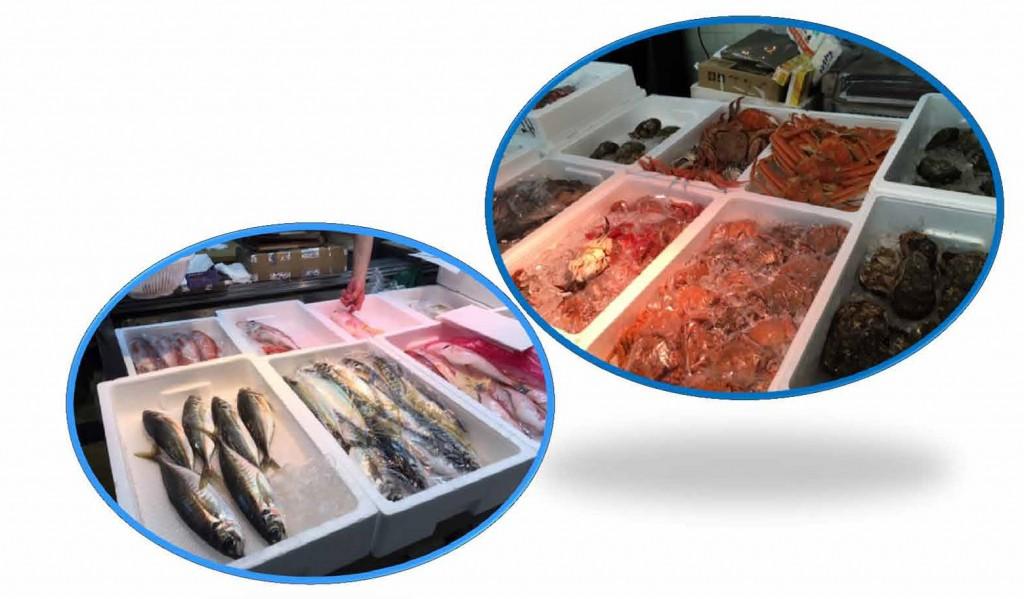 鮮度抜群な魚介類がそろっており、宝石箱のようです!